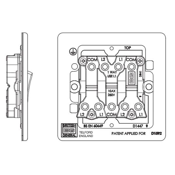 BG Nexus Flatplate Screwless Black Nickel 10A 3 Gang 2 Way Switch at