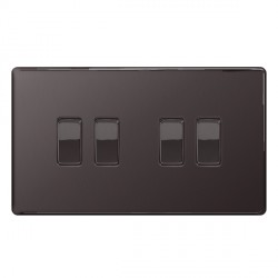 BG Nexus Flatplate Screwless Black Nickel 10A 4 Gang 2 Way Switch