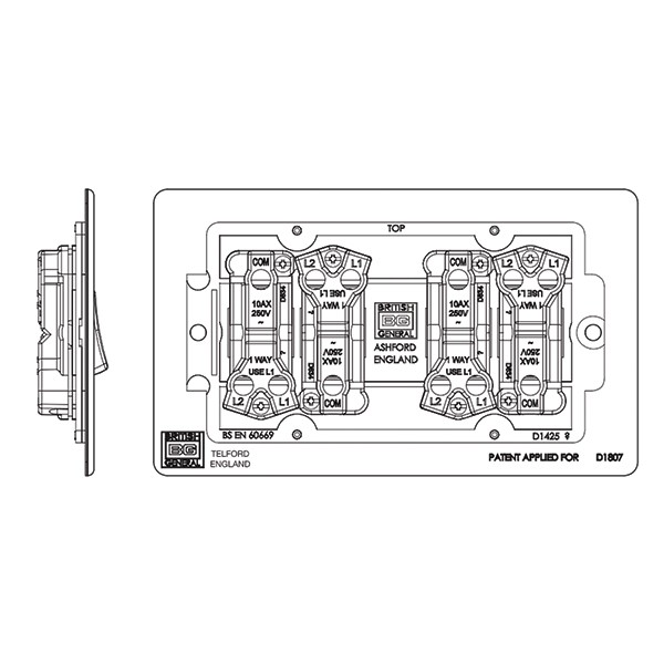 bg nexus flatplate screwless black nickel 10a 4 gang 2 way switch at uk electrical supplies