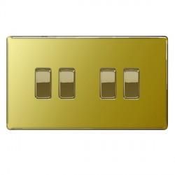 BG Nexus Flatplate Screwless Polished Brass 10A 4 Gang 2 Way Switch