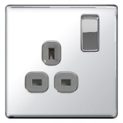 BG Nexus Flatplate Screwless Polished Chrome 13A 1 Gang Double Pole Switched Socket with Grey Insert