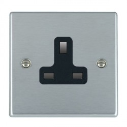 Hamilton Hartland Satin Chrome 1 Gang 13A Unswitched Socket with Black Insert