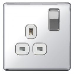 BG Nexus Flatplate Screwless Polished Chrome 13A 1 Gang Double Pole Switched Socket with White Insert