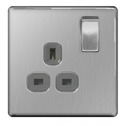 BG Nexus Flatplate Screwless Brushed Steel 13A 1 Gang Double Pole Switched Socket with Grey Insert