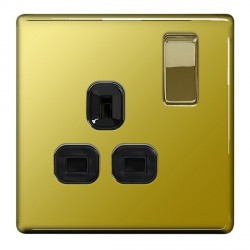 BG Nexus Flatplate Screwless Polished Brass 13A 1 Gang Double Pole Switched Socket with Black Insert