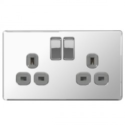 BG Nexus Flatplate Screwless Polished Chrome 13A 2 Gang Double Pole Switched Socket with Grey Insert