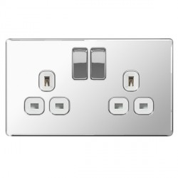 BG Nexus Flatplate Screwless Polished Chrome 13A 2 Gang Double Pole Switched Socket with White Insert