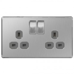 BG Nexus Flatplate Screwless Brushed Steel 13A 2 Gang Double Pole Switched Socket with Grey Insert