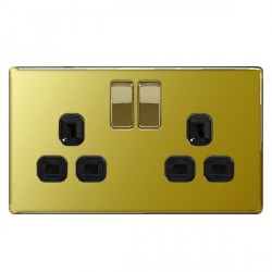 BG Nexus Flatplate Screwless Polished Brass 13A 2 Gang Double Pole Switched Socket with Black Insert