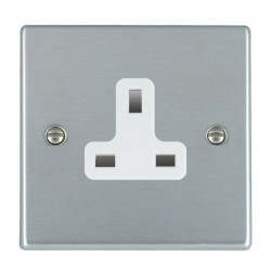 Hamilton Hartland Satin Chrome 1 Gang 13A Unswitched Socket with White Insert