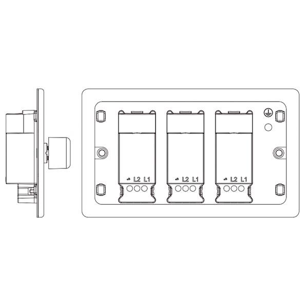 bg nexus flatplate screwless black nickel 400w 3 gang 2 way dimmer switch at uk electrical supplies. Black Bedroom Furniture Sets. Home Design Ideas