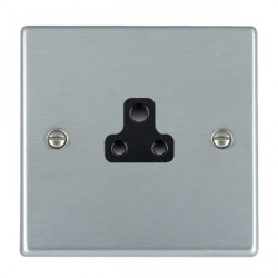 Hamilton Hartland Satin Chrome 1 Gang 2A Unswitched Socket with Black Insert