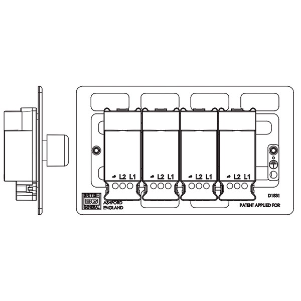 bg nexus flatplate screwless polished chrome 400w 4 gang 2 way dimmer switch at uk electrical