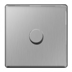 BG Nexus Flatplate Screwless Brushed Steel 400W 1 Gang 2 Way Dimmer Switch