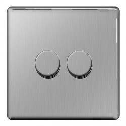 BG Nexus Flatplate Screwless Brushed Steel 400W 2 Gang 2 Way Dimmer Switch
