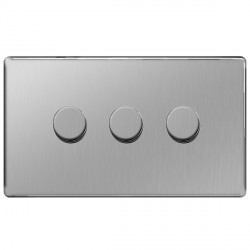 BG Nexus Flatplate Screwless Brushed Steel 400W 3 Gang 2 Way Dimmer Switch