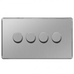 BG Nexus Flatplate Screwless Brushed Steel 400W 4 Gang 2 Way Dimmer Switch