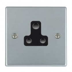 Hamilton Hartland Satin Chrome 1 Gang 5A Unswitched Socket with Black Insert