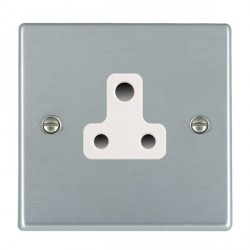 Hamilton Hartland Satin Chrome 1 Gang 5A Unswitched Socket with White Insert