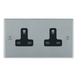 Hamilton Hartland Satin Chrome 2 Gang 13A Unswitched Socket with Black Insert
