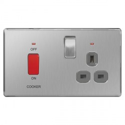 BG Nexus Flatplate Screwless Brushed Steel 45A Double Pole Switch and 13A Switched Socket with Neons and Grey Insert