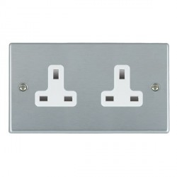 Hamilton Hartland Satin Chrome 2 Gang 13A Unswitched Socket with White Insert