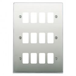 Hamilton Hartland Grid Bright Chrome 12 Gang Grid Fix Aperture Plate with Grid