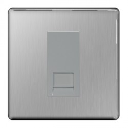 BG Nexus Flatplate Screwless Brushed Steel 1 Gang RJ11 Socket