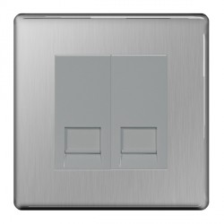 BG Nexus Flatplate Screwless Brushed Steel 2 Gang RJ11 Socket