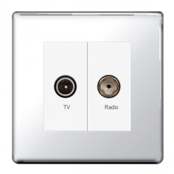 BG Nexus Flatplate Screwless Polished Chrome Diplex TV and FM Socket