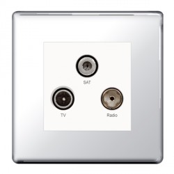 BG Nexus Flatplate Screwless Polished Chrome Triplex TV, FM, and Satellite Socket
