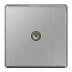 BG Nexus Flatplate Screwless Brushed Steel 1 Gang Non-isolated Coaxial Socket