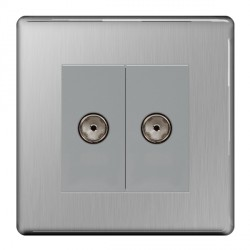 BG Nexus Flatplate Screwless Brushed Steel 2 Gang Non-isolated Coaxial Socket
