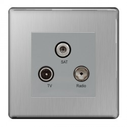 BG Nexus Flatplate Screwless Brushed Steel Triplex TV, FM, and Satellite Socket