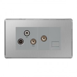 BG Nexus Flatplate Screwless Brushed Steel Triplex TV, FM, and Satellite, with Return and Telephone Socket