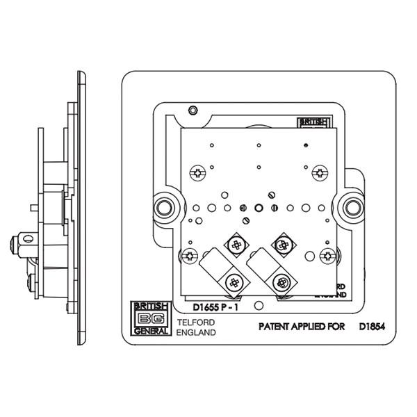 bg nexus flatplate screwless 2 gang coaxial socket  fbn61
