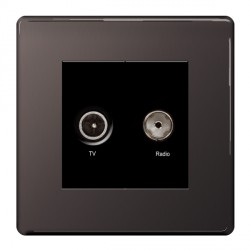 BG Nexus Flatplate Screwless Black Nickel Diplex TV and FM Socket