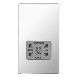 BG Nexus Flatplate Screwless Polished Chrome Dual Voltage Shaver Socket with Grey Insert