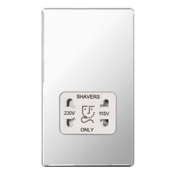 BG Nexus Flatplate Screwless Polished Chrome Dual Voltage Shaver Socket with White Insert