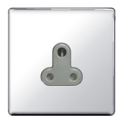 BG Nexus Flatplate Screwless Polished Chrome 5A 1 Gang Unswitched Socket with Grey Insert