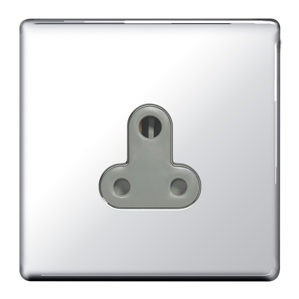 POLISHED CHROME WITH WHITE INSERT SCREWLESS 5A UNSWITCHED SOCKET
