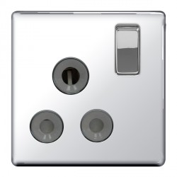 BG Nexus Flatplate Screwless Polished Chrome 15A 1 Gang Switched Socket with Grey Insert