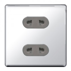 BG Nexus Flatplate Screwless Polished Chrome 16A 2 Gang Unswitched Euro Socket with Grey Insert