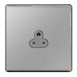 BG Nexus Flatplate Screwless Brushed Steel 2A 1 Gang Unswitched Socket with Grey Insert