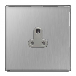 BG Nexus Flatplate Screwless Brushed Steel 5A 1 Gang Unswitched Socket with Grey Insert