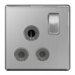 BG Nexus Flatplate Screwless Brushed Steel 15A 1 Gang Switched Socket with Grey Insert