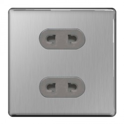 BG Nexus Flatplate Screwless Brushed Steel 16A 2 Gang Unswitched Euro Socket with Grey Insert