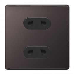BG Nexus Flatplate Screwless Black Nickel 16A 2 Gang Unswitched Euro Socket with Black Insert