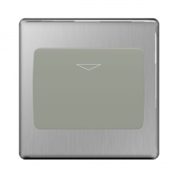 BG Nexus Flatplate Screwless Brushed Steel 16A 1 Gang Hotel Key Card Switch with Grey Insert