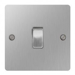BG Nexus Flatplate Brushed Steel 10A 1 Gang 2 Way Switch